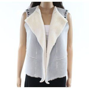 Ming plush soft suede studded fly-away vest jacket